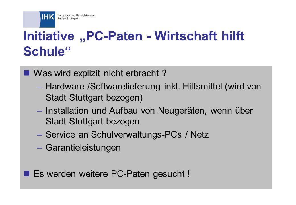 """Initiative """"PC-Paten - Wirtschaft hilft Schule"""