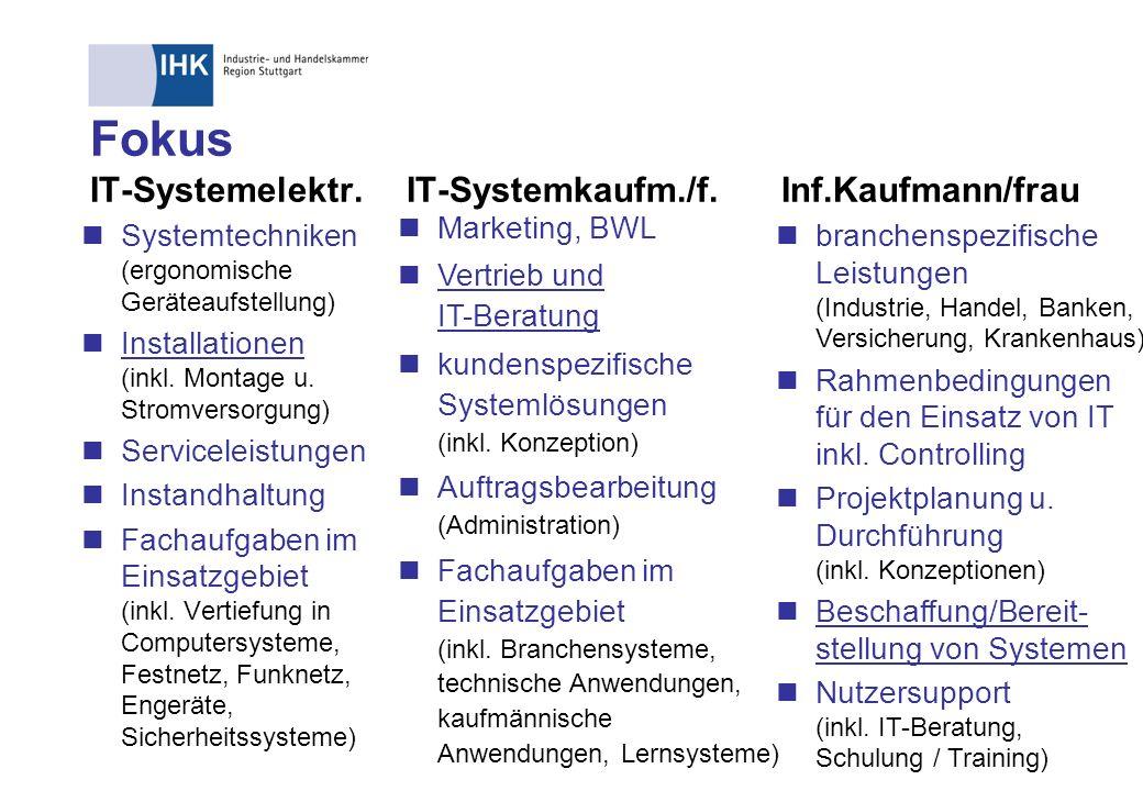 Fokus IT-Systemelektr. IT-Systemkaufm./f. Inf.Kaufmann/frau