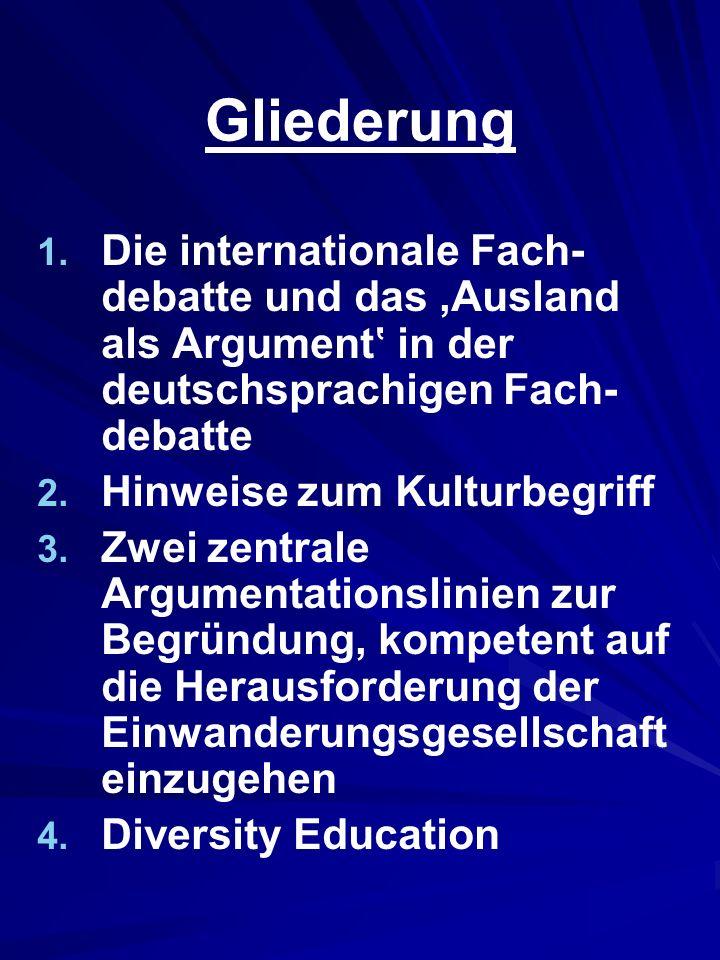 Gliederung Die internationale Fach-debatte und das 'Ausland als Argument' in der deutschsprachigen Fach-debatte.