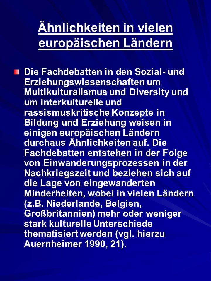 Ähnlichkeiten in vielen europäischen Ländern