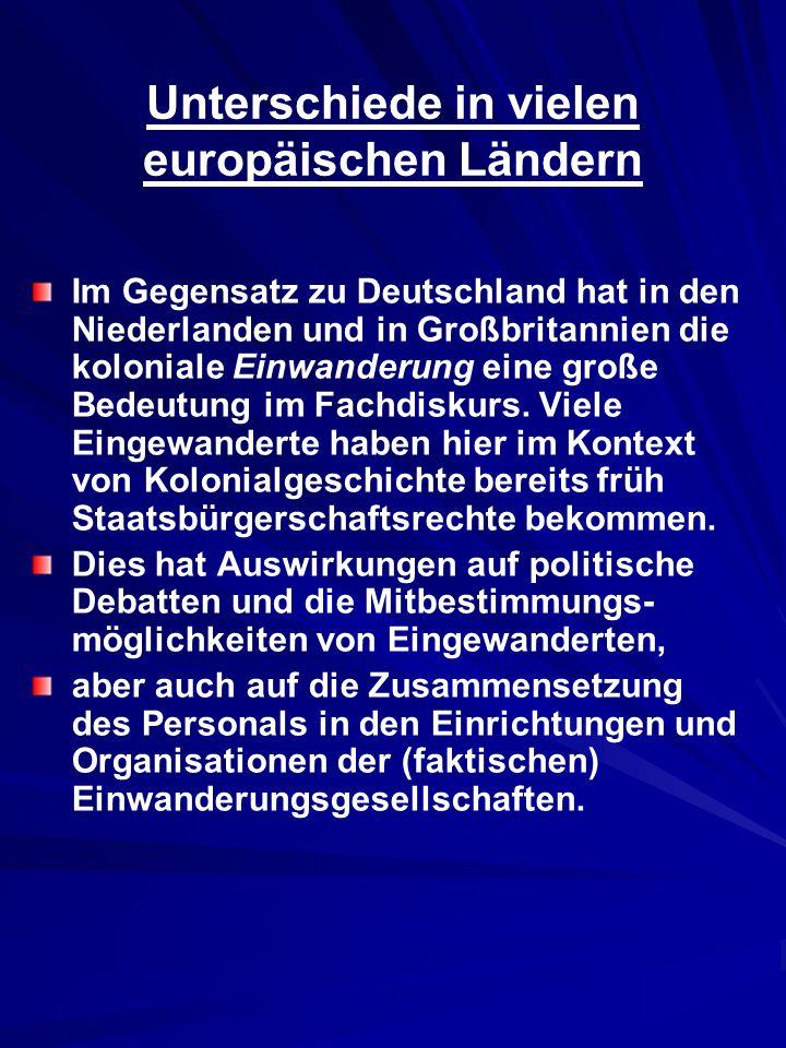 Unterschiede in vielen europäischen Ländern