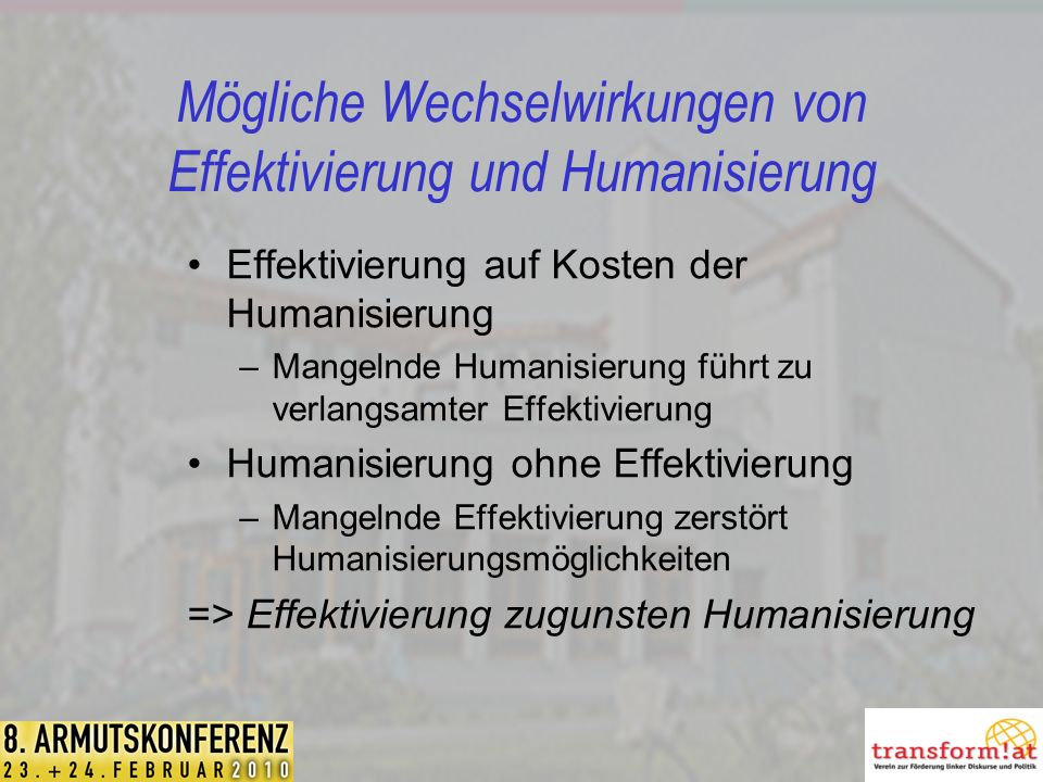 Mögliche Wechselwirkungen von Effektivierung und Humanisierung