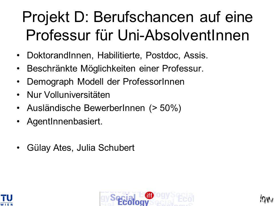 Projekt D: Berufschancen auf eine Professur für Uni-AbsolventInnen