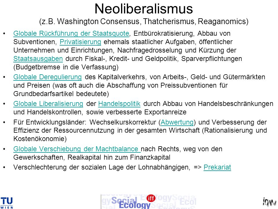 Neoliberalismus (z.B. Washington Consensus, Thatcherismus, Reaganomics)
