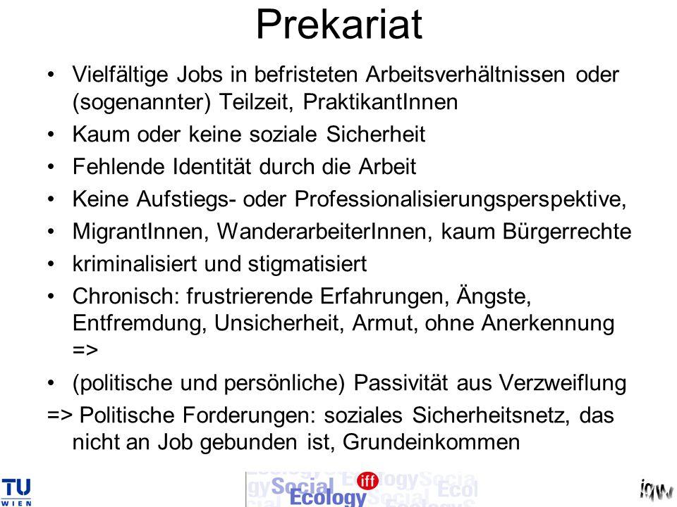 Prekariat Vielfältige Jobs in befristeten Arbeitsverhältnissen oder (sogenannter) Teilzeit, PraktikantInnen.