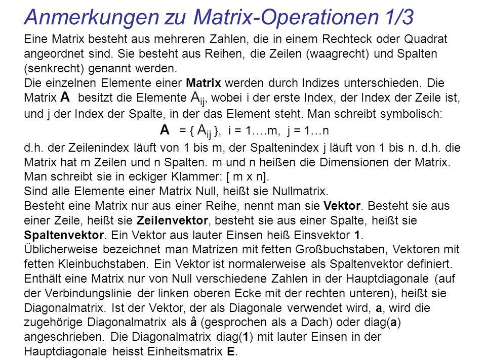 Anmerkungen zu Matrix-Operationen 1/3