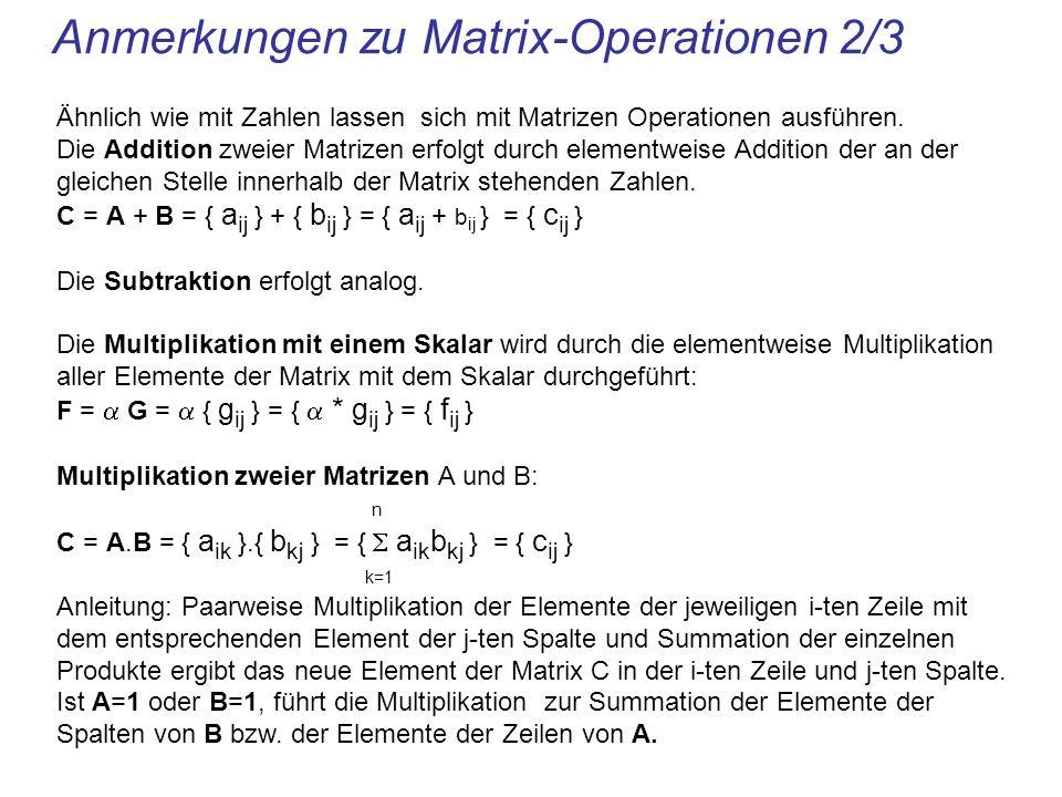 Anmerkungen zu Matrix-Operationen 2/3