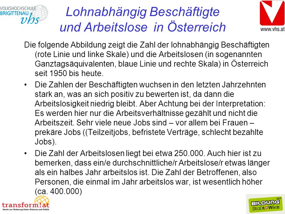 Lohnabhängig Beschäftigte und Arbeitslose in Österreich
