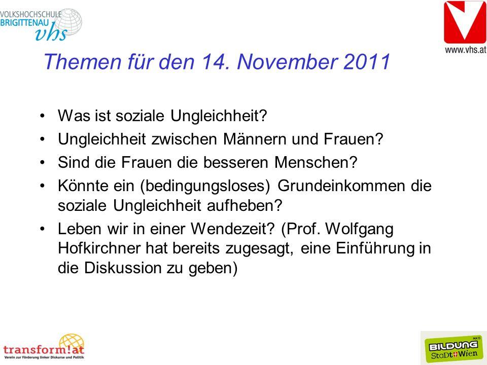 Themen für den 14. November 2011