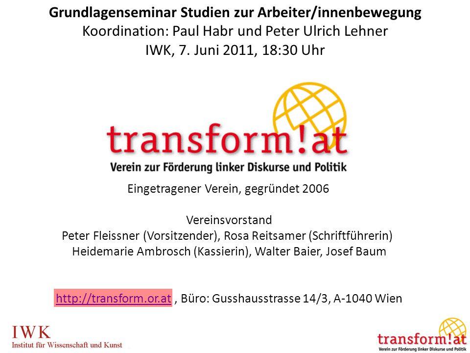 Grundlagenseminar Studien zur Arbeiter/innenbewegung Koordination: Paul Habr und Peter Ulrich Lehner