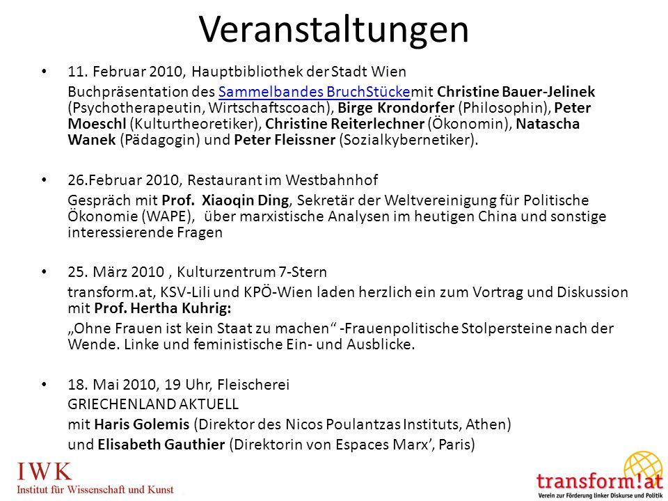 Veranstaltungen 11. Februar 2010, Hauptbibliothek der Stadt Wien