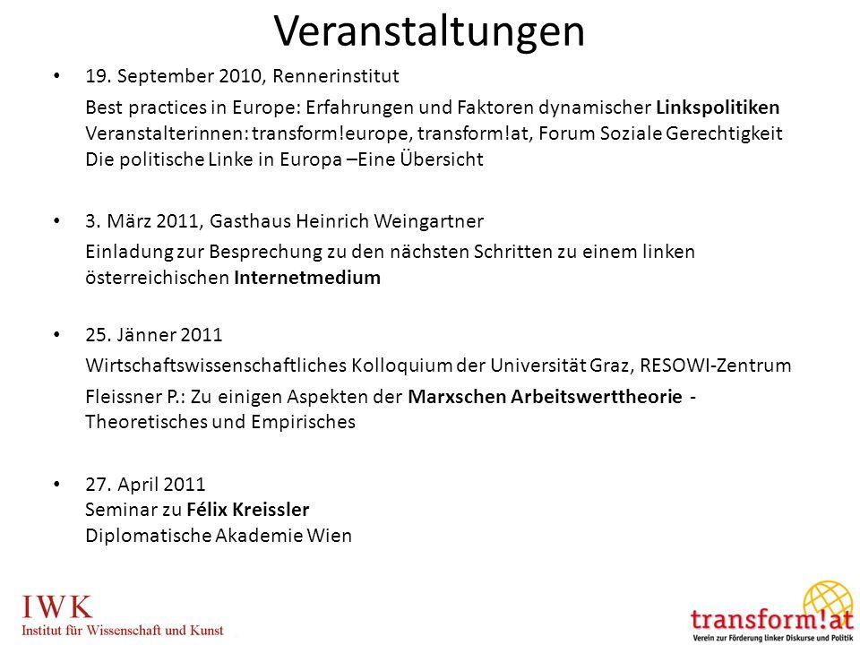 Veranstaltungen 19. September 2010, Rennerinstitut