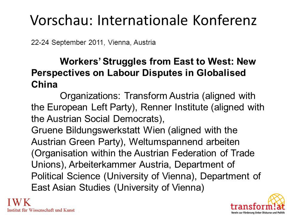 Vorschau: Internationale Konferenz