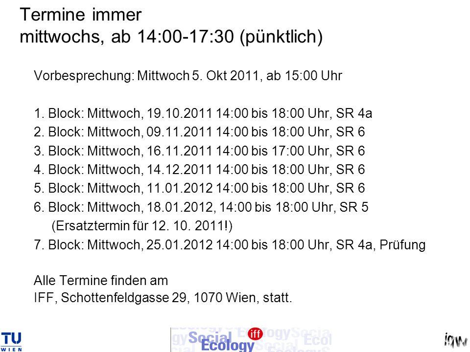 Termine immer mittwochs, ab 14:00-17:30 (pünktlich)