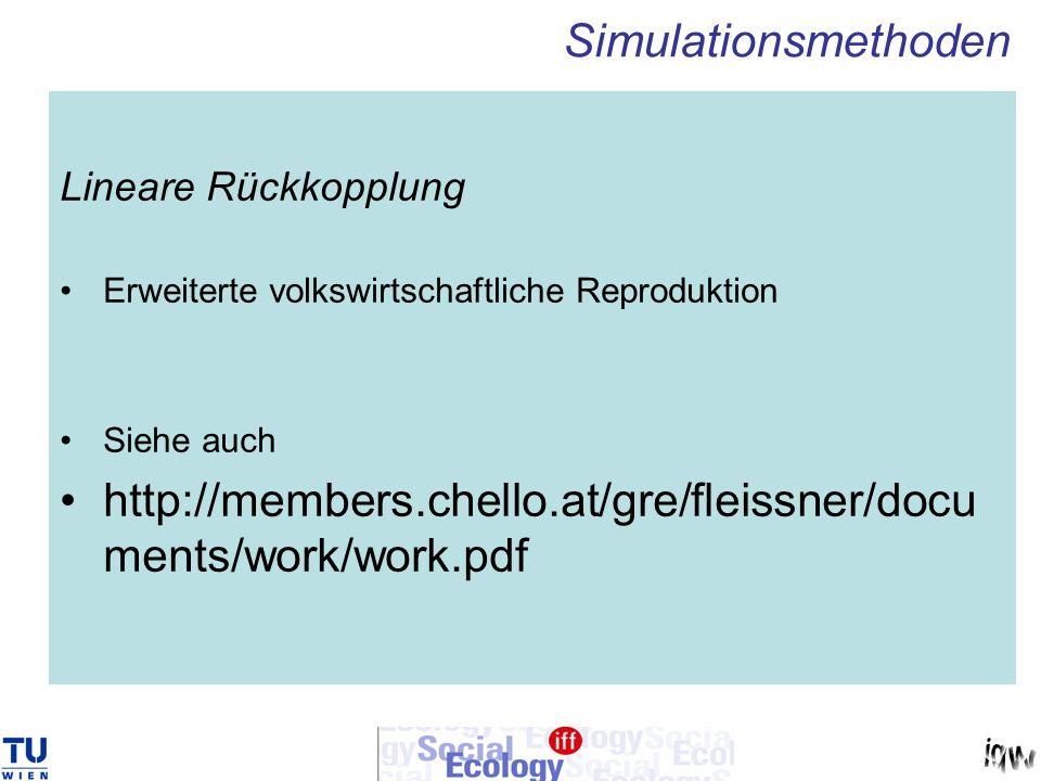 Simulationsmethoden Lineare Rückkopplung. Erweiterte volkswirtschaftliche Reproduktion. Siehe auch.
