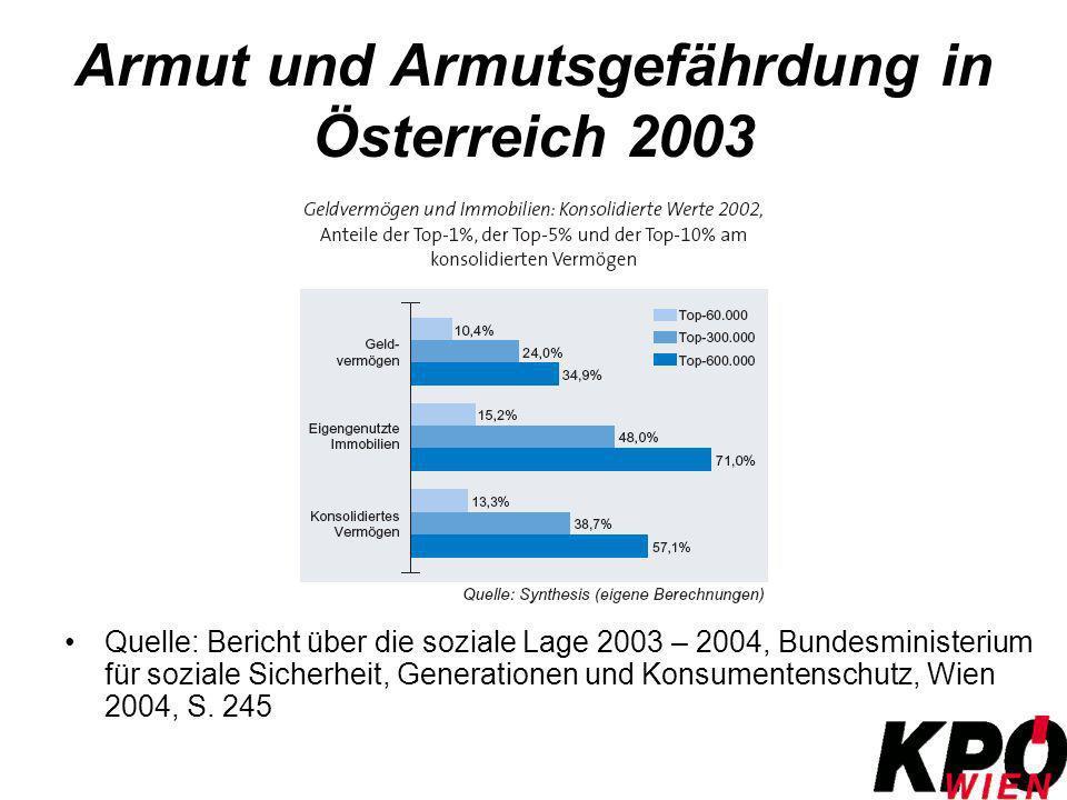 Armut und Armutsgefährdung in Österreich 2003