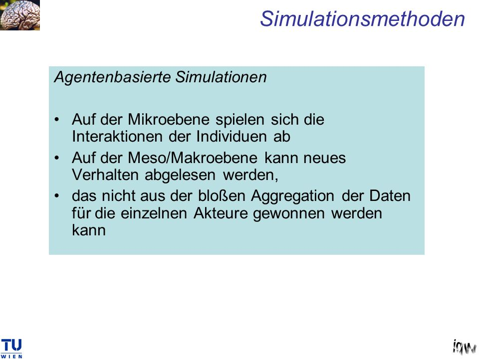 Simulationsmethoden Agentenbasierte Simulationen
