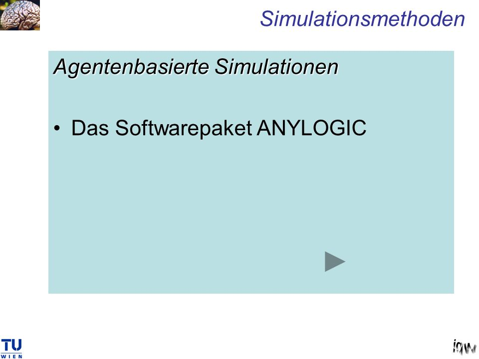 Simulationsmethoden Agentenbasierte Simulationen Das Softwarepaket ANYLOGIC