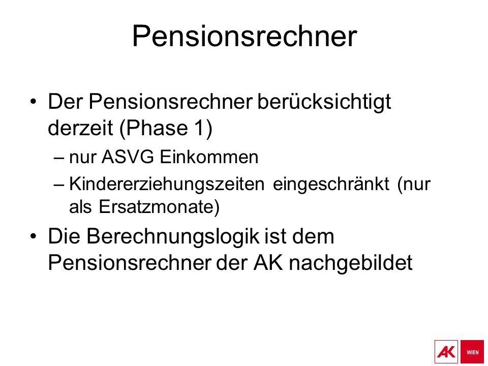 Pensionsrechner Der Pensionsrechner berücksichtigt derzeit (Phase 1)