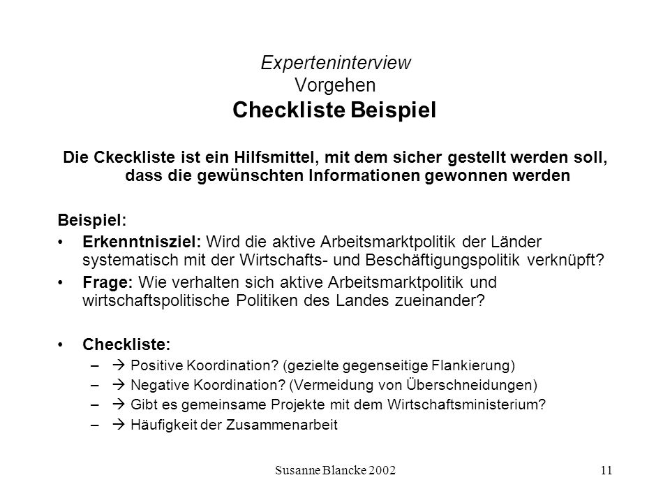 Experteninterview Vorgehen Checkliste Beispiel