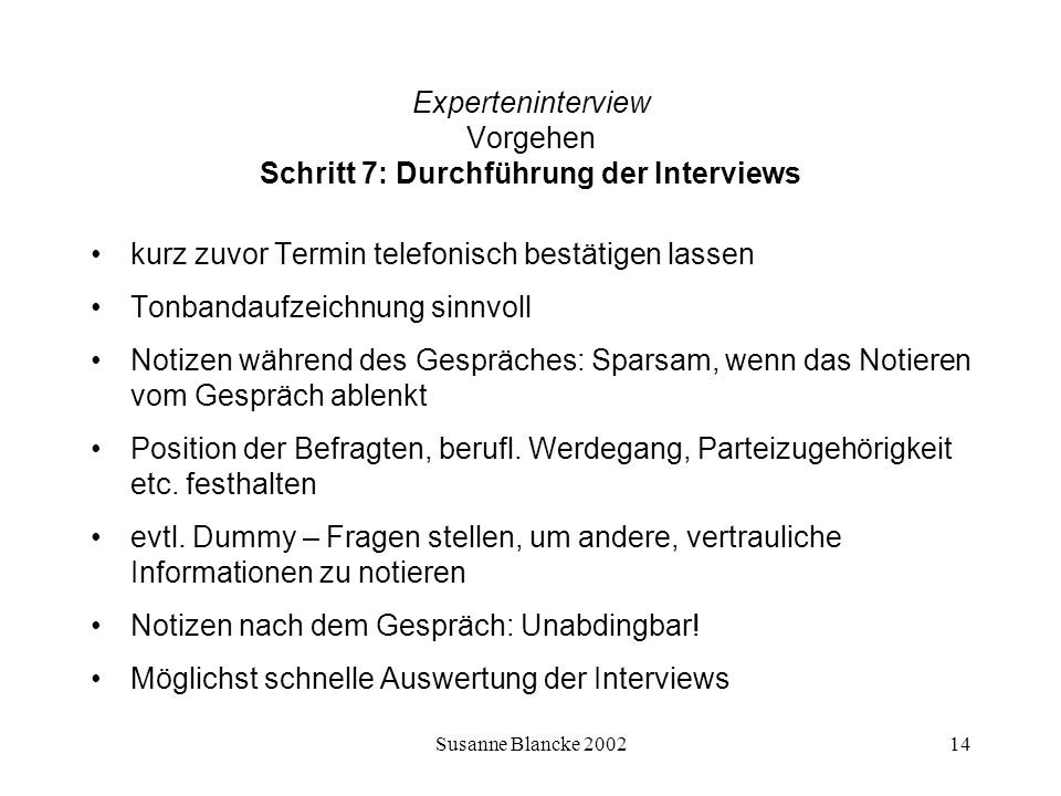 Experteninterview Vorgehen Schritt 7: Durchführung der Interviews