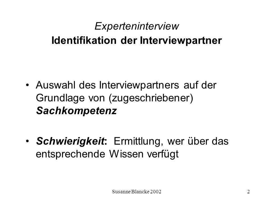 Experteninterview Identifikation der Interviewpartner