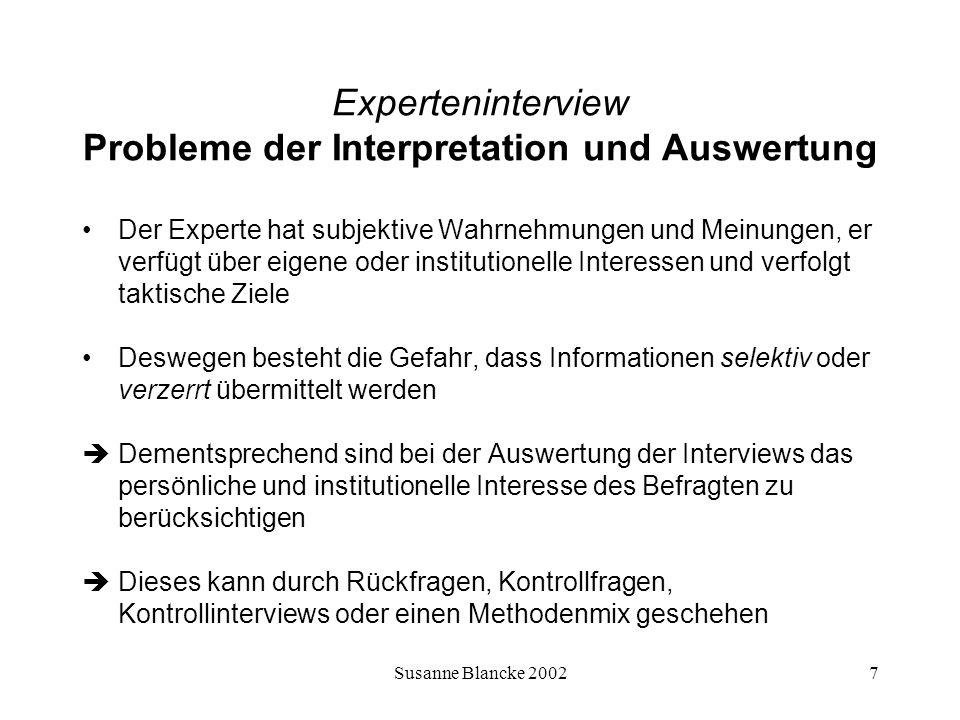 Experteninterview Probleme der Interpretation und Auswertung