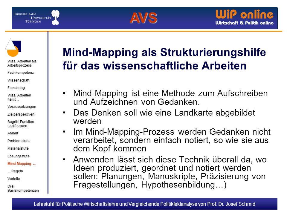 AVS Mind-Mapping als Strukturierungshilfe für das wissenschaftliche Arbeiten. Drei Basiskompetenzen.