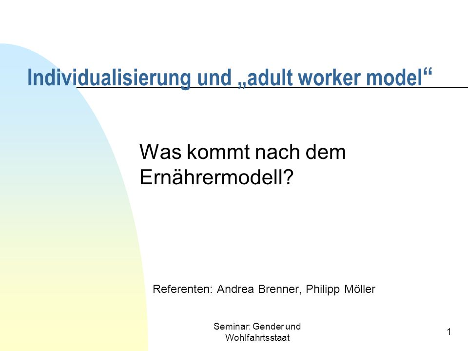 "Individualisierung und ""adult worker model"