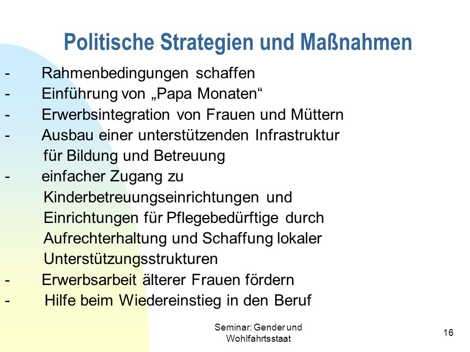 Politische Strategien und Maßnahmen