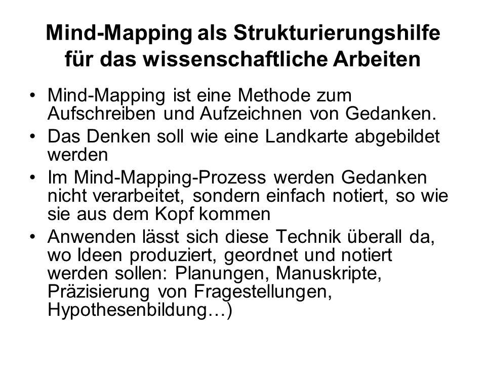 Mind-Mapping als Strukturierungshilfe für das wissenschaftliche Arbeiten