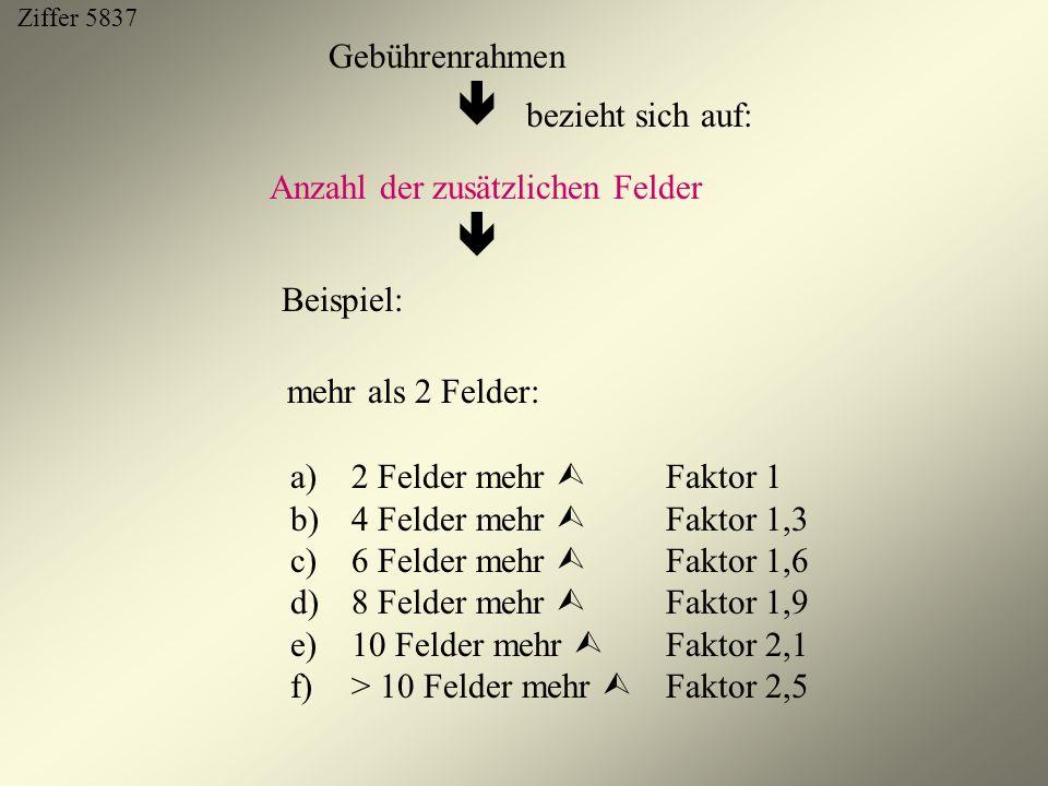 Anzahl der zusätzlichen Felder  Beispiel: