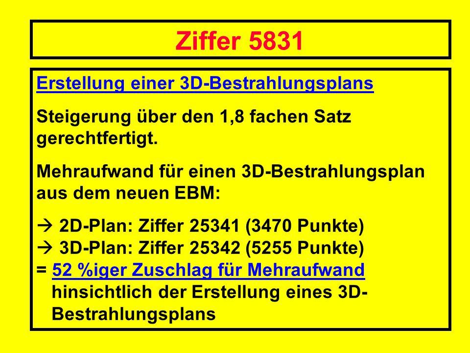 Ziffer 5831 Erstellung einer 3D-Bestrahlungsplans
