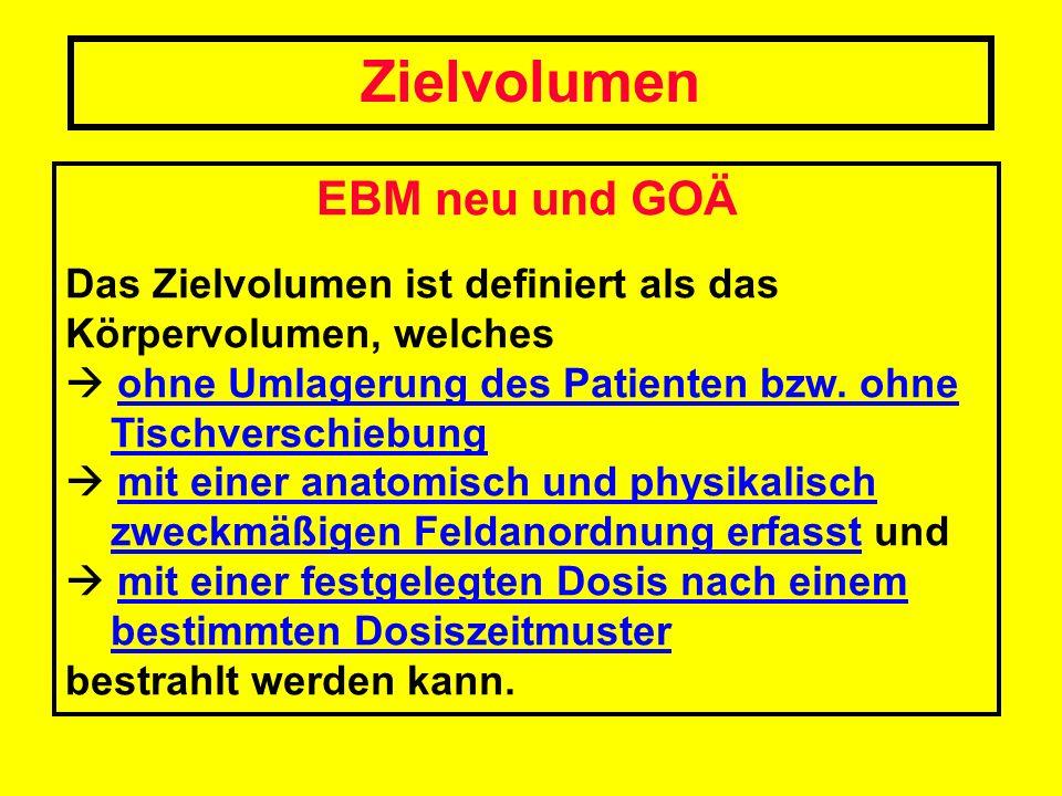Zielvolumen EBM neu und GOÄ