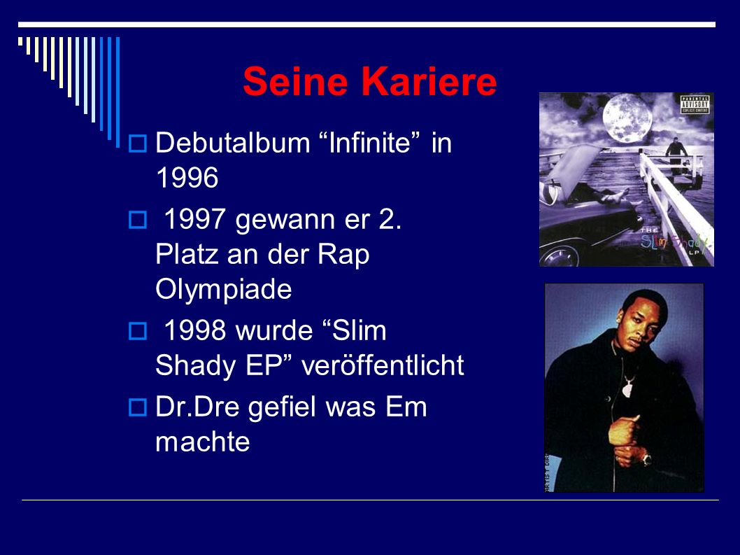 Seine Kariere Debutalbum Infinite in 1996