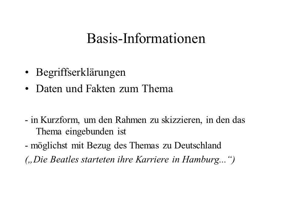 Basis-Informationen Begriffserklärungen Daten und Fakten zum Thema