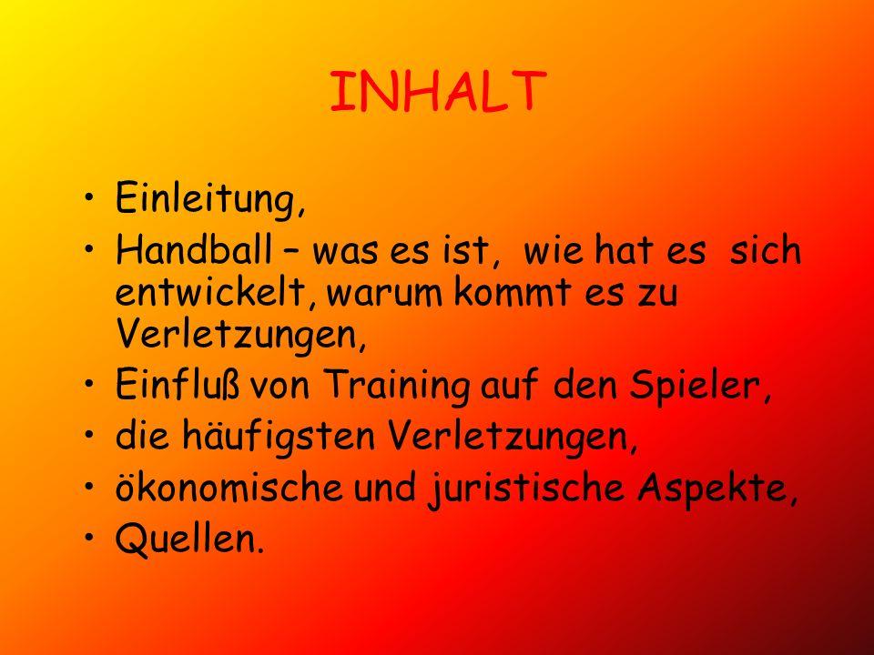 INHALT Einleitung, Handball – was es ist, wie hat es sich entwickelt, warum kommt es zu Verletzungen,