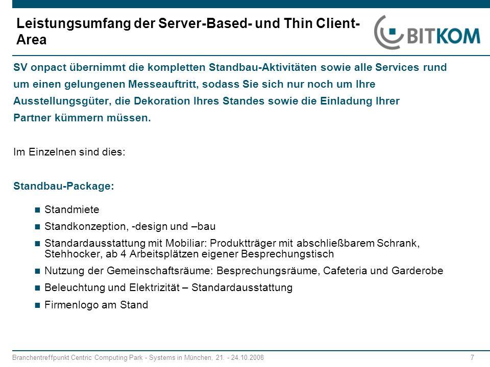 Leistungsumfang der Server-Based- und Thin Client-Area