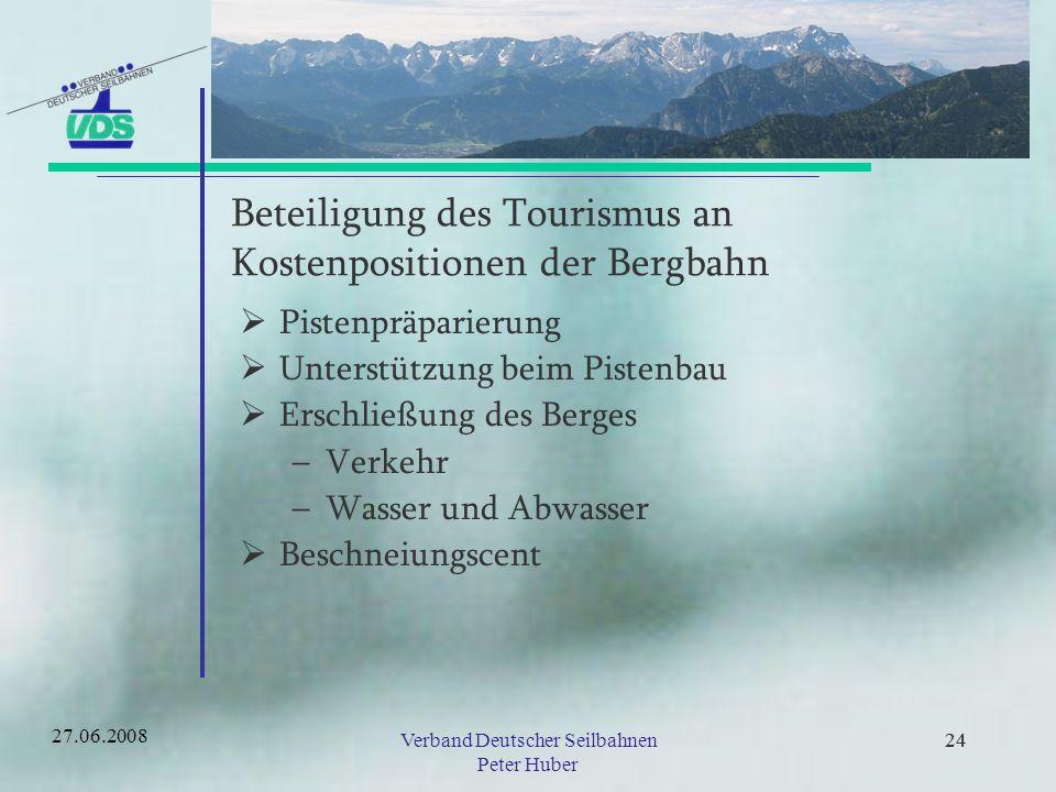 Beteiligung des Tourismus an Kostenpositionen der Bergbahn