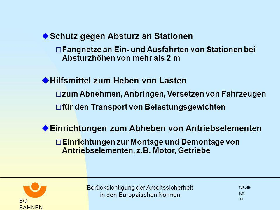 Schutz gegen Absturz an Stationen