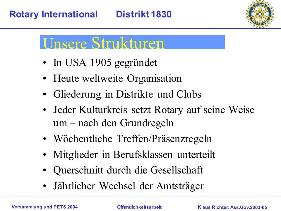 Unsere Strukturen In USA 1905 gegründet Heute weltweite Organisation