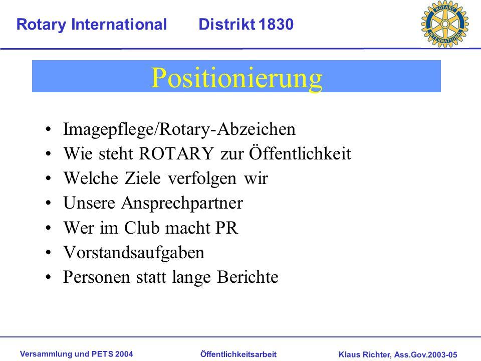 Positionierung Imagepflege/Rotary-Abzeichen