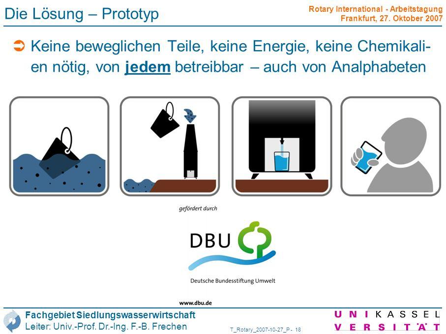 Die Lösung – PrototypKeine beweglichen Teile, keine Energie, keine Chemikali-en nötig, von jedem betreibbar – auch von Analphabeten.