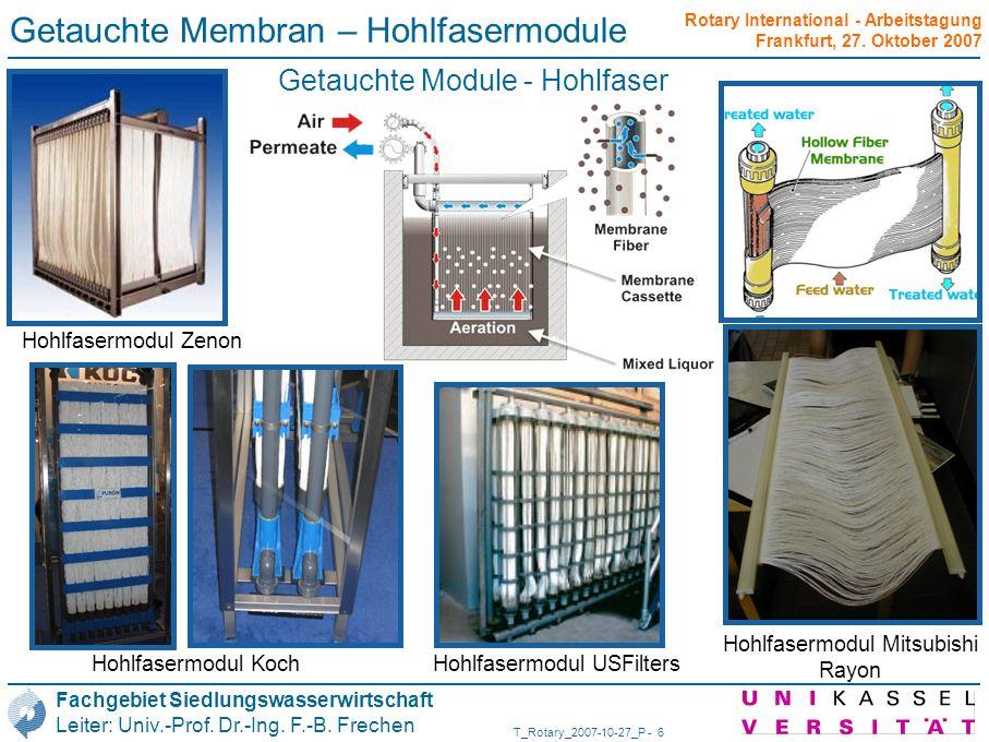 Getauchte Membran – Hohlfasermodule