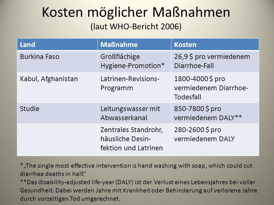 Kosten möglicher Maßnahmen (laut WHO-Bericht 2006)