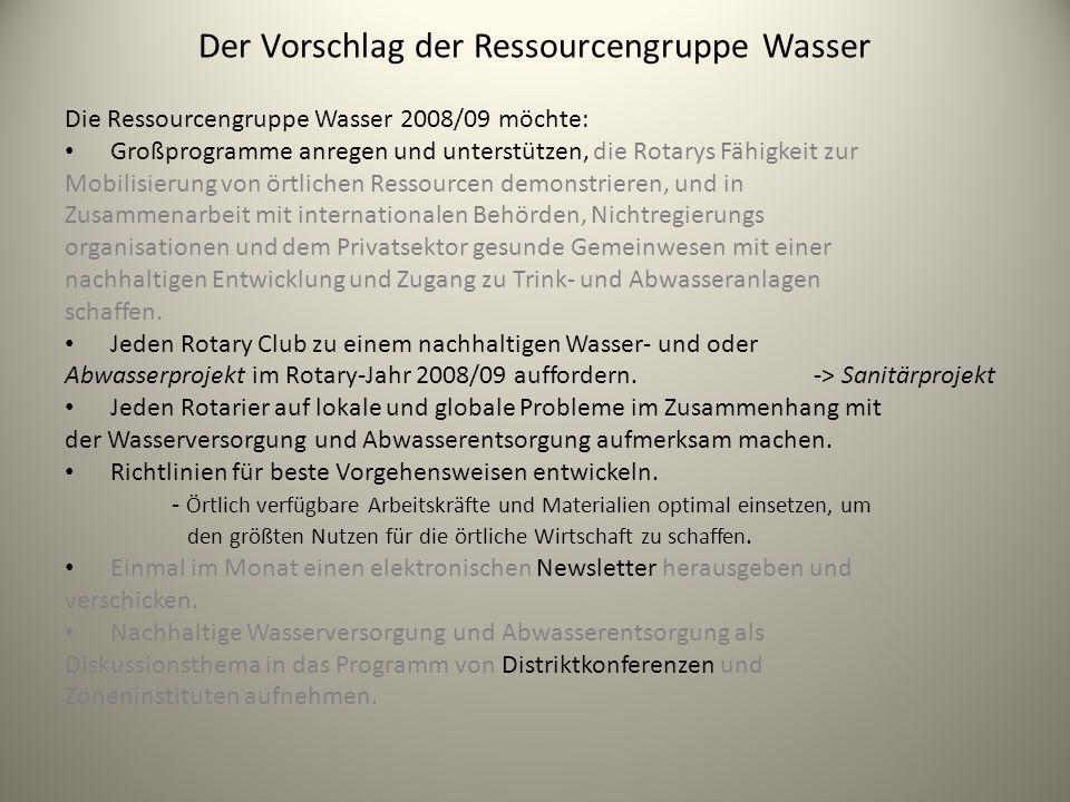 Der Vorschlag der Ressourcengruppe Wasser