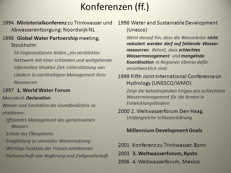 Konferenzen (ff.) 1994 Ministerialkonferenz zu Trinkwasser und Abwasserentsorgung; Noordwijk NL. 1996 Global Water Partnership meeting, Stockholm.