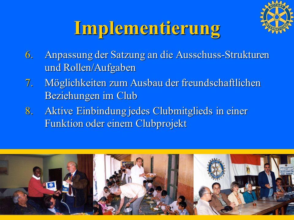 ImplementierungAnpassung der Satzung an die Ausschuss-Strukturen und Rollen/Aufgaben.
