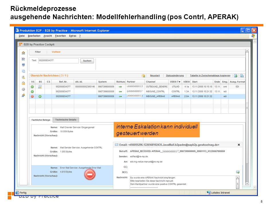 Rückmeldeprozesse ausgehende Nachrichten: Modellfehlerhandling (pos Contrl, APERAK)