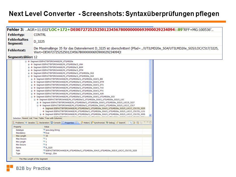 Next Level Converter - Screenshots: Syntaxüberprüfungen pflegen